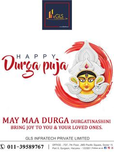 Let the festive spirit embrace you and your dear ones on this special occasion. 💥Wishing you a happy Durga Puja💥 From Gls Infratech Private Limited Team Happy Durga Puja, Durga Maa, Festive, Special Occasion, First Love, Bring It On, Spirit, Joy, First Crush
