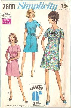 Simplicity 7600 Misses' 60's Dress Easy to Sew
