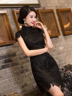 Black Lace Chinese Qipao / Cheongsam Dress - CozyLadyWear