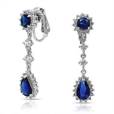 Bling Jewelry Bling Jewelry Simulated Sapphire Cz Bridal Teardrop... ($22) ❤ liked on Polyvore featuring jewelry, earrings, blue, long dangle earrings, clip on chandelier earrings, blue clip on earrings, blue chandelier earrings and cubic zirconia earrings