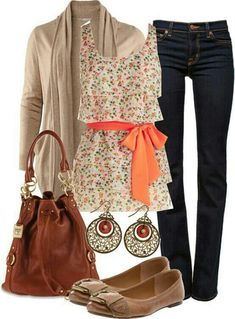 Cute floral top, jeans and cardigan with brown purse and flats
