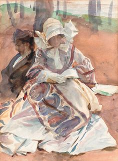Lady in the Alps Reading (The Cashmere Shawl), John Singer Sargent. (1856…