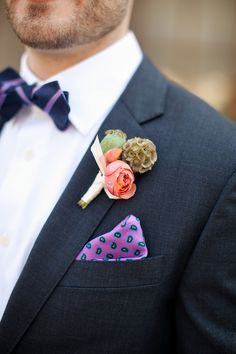 ~ we ❤ this!  moncheribridals.com ~ #groomsuits #boutonnieres Pocket Square adds that final touch...........