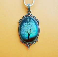 Sapphire Wind -- Wearable Art Cameo Necklace-art necklace on Etsy, $30.00