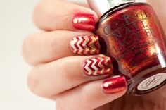 Chevron shimmery nail art look @opinagellack DS Indulgence, My Vampire is Buff and Goldeneye
