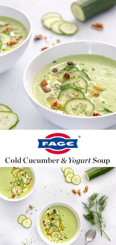 Cold Yogurt and Cucumber Soup FAGE Total yogurt adds a layer of rich creamy texture. Cool as a cucumber soup. Source by abeachgirl Soup Recipes, Vegetarian Recipes, Dinner Recipes, Cooking Recipes, Healthy Recipes, Recipies, Vegan Soup, Soup And Sandwich, Soup And Salad