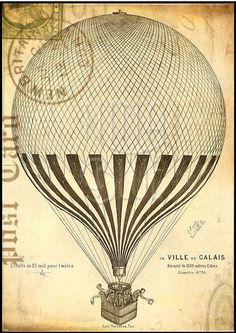 1 unidade : Poster impresso em papel couche, 230 de gramatura, imagem inspirado no estilo Shabby Chic , imagem Hot Air Baloon . Tamanho 27,5X38cm. R$ 21,90
