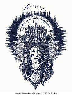 Native American woman and compass tattoo art. Ethnic girl warrior. Young woman in costume of american indian and night forest t-shirt design
