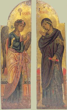 Annunciation of Our Lady. Ancient icons of Jesus Christ Byzantine Icons, Byzantine Art, Religious Icons, Religious Art, Saint Catherine's Monastery, Gospel Of Luke, Russian Icons, Religious Paintings, Best Icons