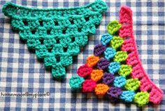 Triangles - variations.  http://homemadeatmyplace.blogspot.co.uk/2013/09/make-it-variations-of-crochet-pattern.html?m=1