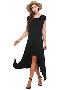 Special Offer: $21.99 amazon.com Meaneor Women Hi Low Swing Dress Cap Sleeve Casual Long Jersey Party Beach Dress Super comfortable jersey dress. This is an amazing dress perfect for both day and romantic night life.Soft Stretchable Fabric: 95% Polyester and 5% spandex. Comfortable to wear....