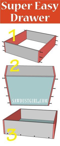 How to Build a Cabinet Drawer the Easiest Way Possible – Sawdust Girl® - Diy furniture for teens Bathroom Drawer Organization, Bathroom Drawers, Closet Drawers, Kitchen Cabinet Drawers, Diy Drawers, Diy Cabinet Doors, Wood Drawers, Gold Bathroom, Cabinet Ideas