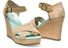 TOMS+ Nude Mint Strappy Wedges  Might be too tall but these are cute!