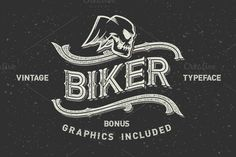 """Introducing my another font set, named """"Biker"""". It has three font variations with different complexity. All the graphics, that you see on screenshots, Ttf Fonts, Cursive Fonts, Vintage Biker, Vintage Auto, Gothic Fonts, Vintage Fonts, Vintage Graphic, Vintage Type, Small Letters"""