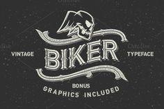 Check out Biker font set + graphics by Gleb Guralnyk on Creative Market