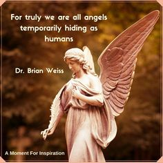 For truly we are all angels temporarily hiding as humans - Dr. Brian Weiss