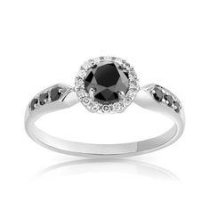 Bague or 750 blanc diamant noir et diamant blanc - Femme - Bague | MATY