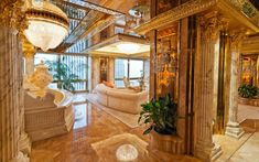 24k gold walls and elevator entrance to Trump's penthouse in New York