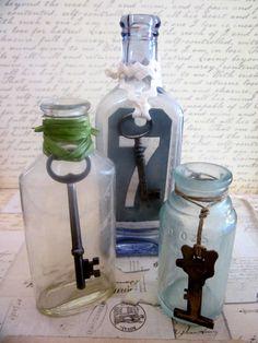 Three Antique Medicine Bottles With Skeleton Keys & by tuscanroad, $24.00