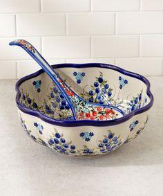 Fala Bowl & Ladle by Lidia's Polish Pottery. My favorite pattern