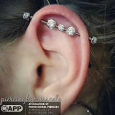 New industrial piercing featuring a titanium barbell with interchangeable prong set white cz gems in the center. Jewelry from @anatometalinc. Talk about adorable! #appmember #app #safepiercing #industrialpiercing #earpiercing #cartilagepiercing #anatometal #piercingbymisscale #piercingemporium