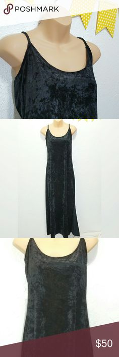 """Vintage Velvet Victoria Secret Dress Chic with a jacket and set of pearls!  -Excellent used/vintage  condition, no signs of wear -Crushed Velvet style- So soft!  -100% Polyester   -Please use measurements for best fit, all measurements are taken laying flat -Bust: 16"""" -Length: 46"""" -Black with a Slight shimmer  (colors' appearance may vary on screen) -Made in USA  Questions? Just ask! Bundle to save! Offers welcome  Happy Poshing!  C:RC Victoria's Secret Dresses Maxi"""