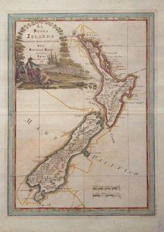 New Zealand by Captain James Cook - new reprint of antique map Vintage Maps, Antique Maps, Vintage Travel Posters, Captain James Cook, Mma, Fine Art Posters, Nz Art, Kiwiana, Decorative Borders