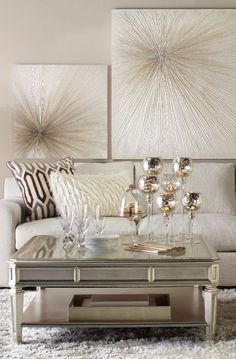 Refine with Shimmer: The Empire Coffee Table + Del Mar Sectional - Modern Design Salon, Deco Design, Living Room Inspiration, Home Decor Inspiration, Beige Living Rooms, Living Room Decor Gold, Coffee Table Decor Living Room, Glamour Living Room, Silver Living Room