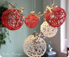 Christmas balls of thread Handmade Christmas Decorations, Easy Christmas Crafts, Xmas Decorations, Christmas Projects, Simple Christmas, Homemade Christmas, Holiday Decor, Christmas Balls, Christmas Art