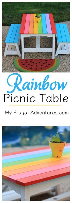 Turn a junky old table into this adorable Rainbow Picnic Table.  Such a cheerful and fun addition to the yard.  Just a few samples of paint are all you need!  Wait until you see what this looked like before....