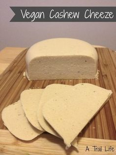 Vegan cheeze made from cashews and agar agar.It slices and melts and doesn't have all of the extra ingredients you find in store-bought brands. Non Dairy Cheese, Vegan Cashew Cheese, Vegan Cheese Recipes, Vegan Sauces, Vegan Butter, Vegan Foods, Vegan Dishes, Dairy Free Recipes, Raw Food Recipes