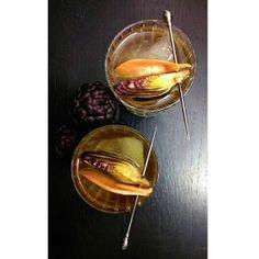 Gastronomista: Artichoke Negroni - Homemade Artichoke Gin, Cynar, Cocchi Bianco, served with a grapefruit and artichoke garnish.