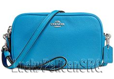 COACH 65547 Crossbody Clutch Messenger Bag Silver/Azure Blue NWT #Coach #MessengerCrossBody