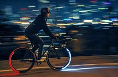Revolights bike lights are high quality wheel mounted LED bicycle lights that take cycling safety to the next level. Road Bikes, Cycling Bikes, Skyline, Tron Light Cycle, Bike Gadgets, Bicycle Wheel, Bicycle Engine, Bicycle Tires, Bicycle Lights