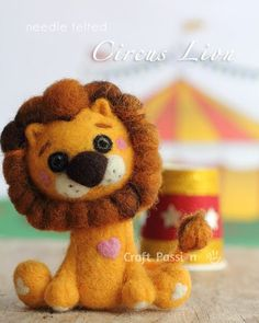 Needle Felted Circus Lion - free tutorial on how to make this shy circus lion that is missing home terribly. He is always feeling nervous when performing on the stage.