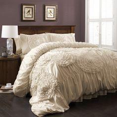 Amazon.com - Lush Decor Serena 3-Piece Comforter Set, Queen, Ivory -