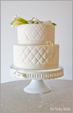 Classic Quilted Wedding Cake with Fresh Calla Lilies by The Pastry Studio