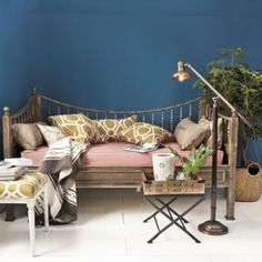 Horsestall Daybed by Ballard Designs - love the colors, ideas for office/guest room combo