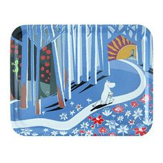 """Moomin Flowers Blue Small Tray This lovely little birch laminate tray from Opto Design is imprinted with a double-page spread from """"The Book about Moomin, Mymble and Little My"""" written and illustrated by Tove Jansson. Kids Book Series, Tove Jansson, Small Tray, Learning Spaces, Children's Book Illustration, Illustrations, Something Blue, Discount Designer, Illustration"""