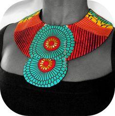 Handmade fabric neckwear Striking African Bib by BarefootModiste