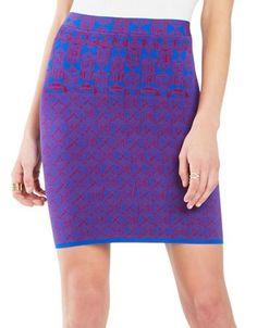 Bcbgmaxazria Aleksandra Geometric Knit Jacquard Power Skirt Women's Ro