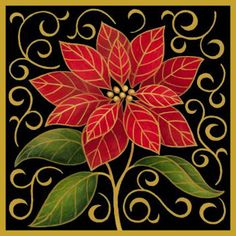 Poinsettia Christmas Flower Silk Needlepoint Kit I by Stephanie Stouffer from Art Needlepoint