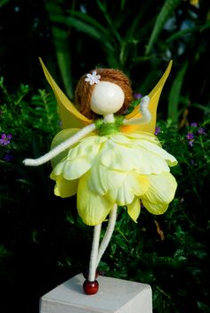 Angel Ornament  Yellow Fairy Miniature Yellow Flower doll by OrientalColour, $14.50