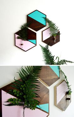 These hexagonal wall vases put small flowers or leaves on display, and at the same time add an artistic touch to your walls.
