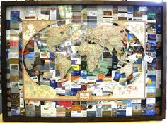 Travel for business or with friends and family? Check out this Bradley's custom shadowbox with hotel key cards and a cut out map of the world to preserve your memories.