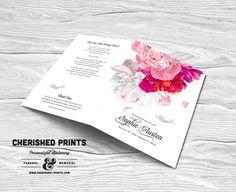 Beautiful Soft Peonies funeral program funeral folder