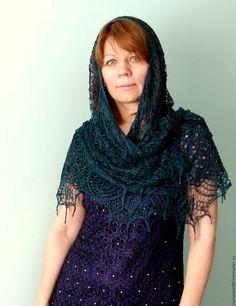 Купить Ажурная шаль из натурального шелка - шаль, шаль ажурная, шаль спицами, итальянский