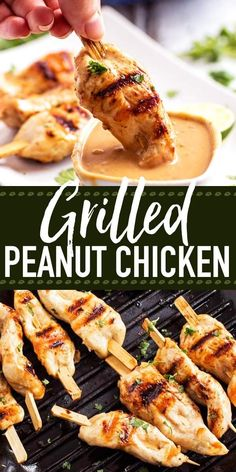 Are you looking for an easy grilled chicken recipe? These grilled chicken skewers with Thai peanut sauce are an incredible satay-inspired idea! Serve them as part of a BBQ potluck or summer picnic. They work as a simple dinner, too. The sauce is no-cook a Easy Bbq Recipes, Healthy Salad Recipes, Healthy Chicken Recipes, Healthy Breakfast Recipes, Grilling Recipes, Easy Meals, Xmas Recipes, Picnic Recipes, Juice Recipes