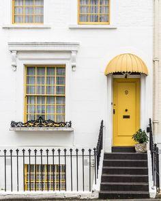 Yellow door in Kensington, London