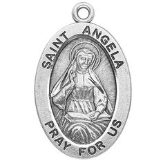 "Sterling Silver Oval Medal Necklace Patron Saint St. Angela with 18"" Chain in Gift Box HMHRegina,http://www.amazon.com/dp/B003QHUMES/ref=cm_sw_r_pi_dp_VjRIsb03V8XKDW30"